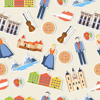 País áustria viagem guia de férias de mercadorias, lugares. conjunto de arquitetura, pessoas, cultura.