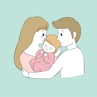 Pais bonitos dos desenhos animados e vetor do bebê.