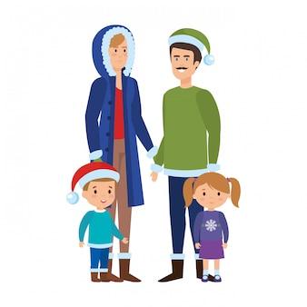 Pais casal com crianças e roupas de inverno