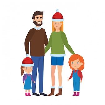 Pais casal com filhas com roupas de inverno