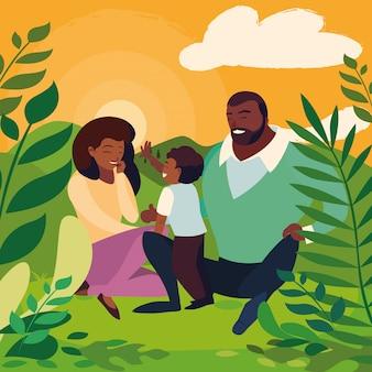 Pais com a família do filho na paisagem do dia