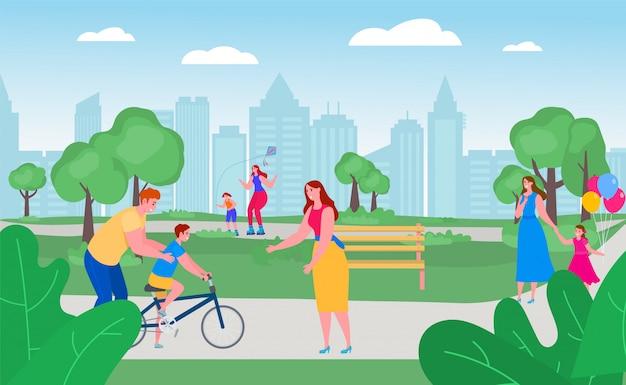 Pais com as crianças no parque junto, ilustração. tempo livre com a família feliz lá fora, atividade de lazer. pai ensina