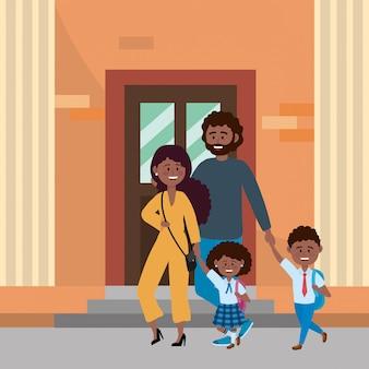 Pais, com, crianças, indo escola