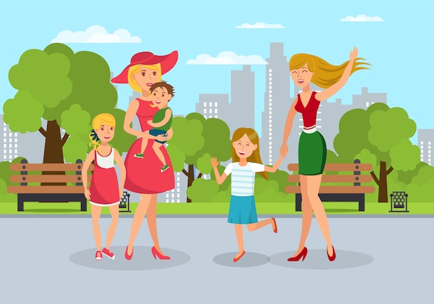 Pais com crianças se encontram na ilustração plana de pé
