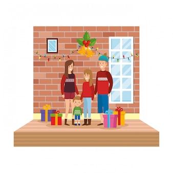 Pais, com, filha, em, sala de estar