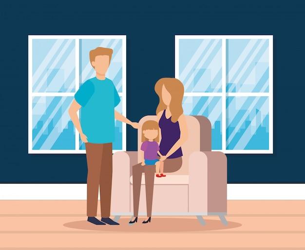 Pais com filha na sala de estar
