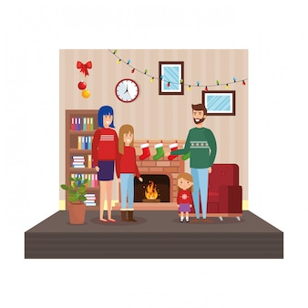 Pais, com, filhas, em, sala de estar