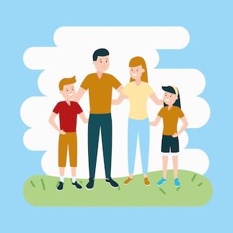 Pais com filho e filha