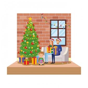 Pais, com, filho, em, sala de estar, com, decoração natal