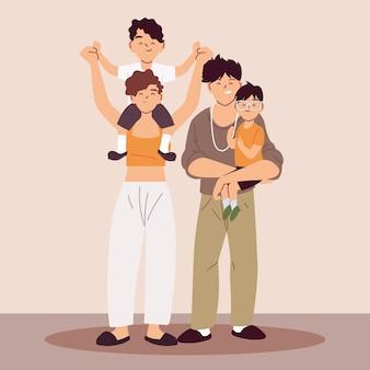 Pais com filhos de mãos dadas