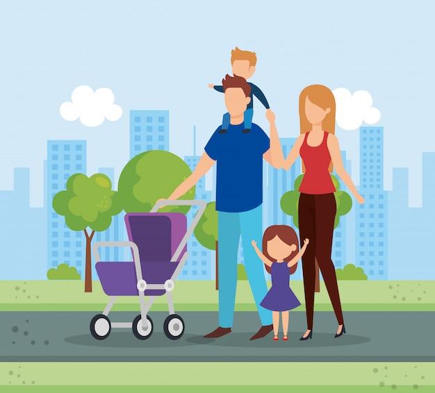 Pais com filhos e carrinho