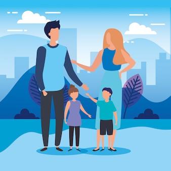 Pais com filhos em personagens da natureza do parque