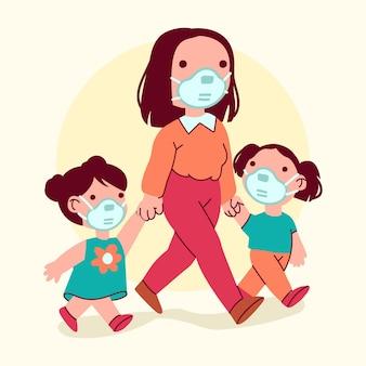 Pais com filhos ilustrados