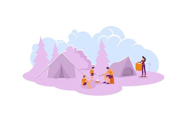 Pais com filhos perto de personagens de fogueira no fundo do desenho animado