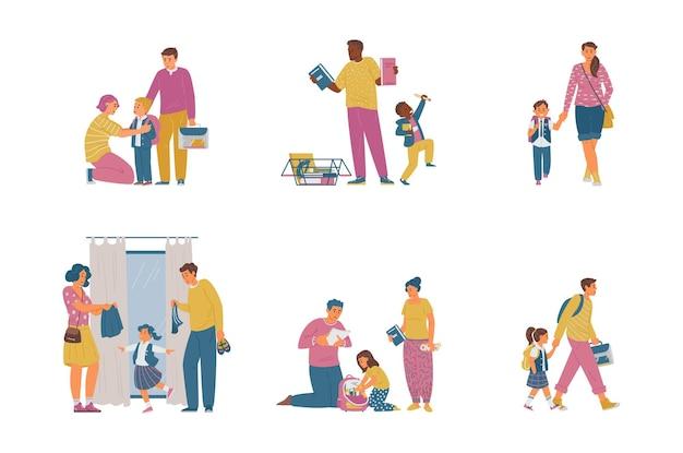 Pais com filhos se preparando para ir à escola comprando material e empacotando o uniforme escolar