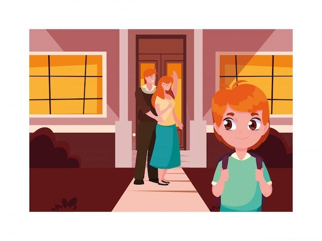 Pais com o filho aluno de volta à escola