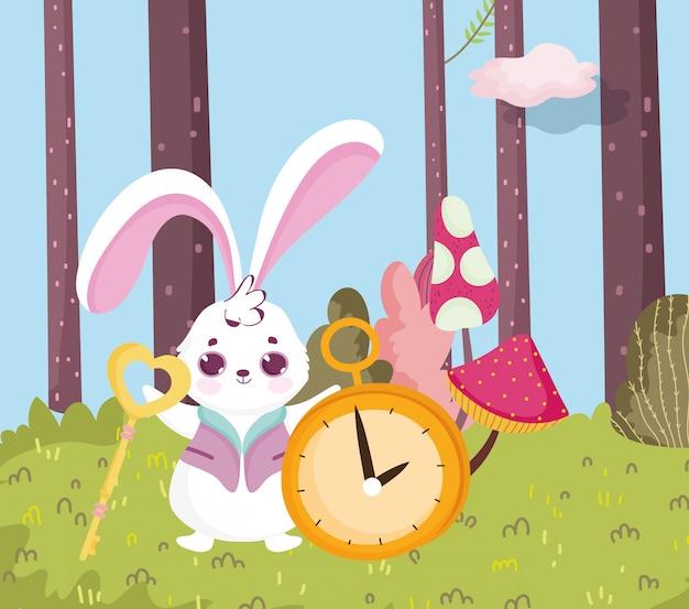 País das maravilhas, coelho com chave e relógio floresta