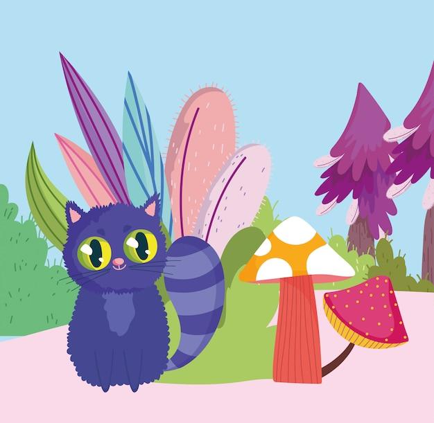 País das maravilhas, gato cogumelo folhagem arbusto dos desenhos animados