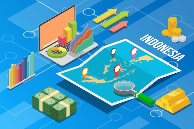 País de crescimento de economia de negócios da indonésia