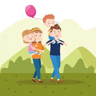 Pais de família e desenhos animados de crianças