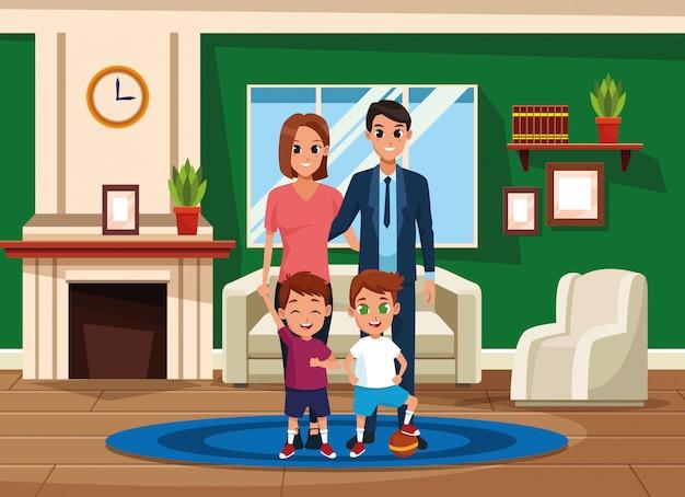 Pais de família e desenhos de crianças
