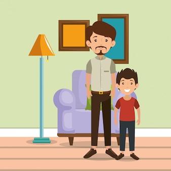 Pais de família na cena da sala de estar