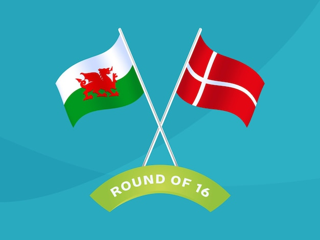 País de gales vs dinamarca rodada de 16 partida, ilustração vetorial do campeonato europeu de futebol 2020. jogo do campeonato de futebol 2020 contra fundo de esporte de introdução de equipes.