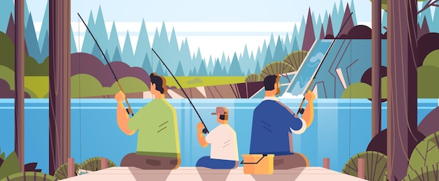Pais do sexo masculino pescando com filho pequeno, família gay, transgênero, amor, conceito de comunidade lgbt, paisagem, fundo, ilustração vetorial horizontal