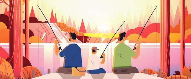 Pais do sexo masculino pescando com filho pequeno família gay transgênero amor conceito de comunidade lgbt pôr do sol paisagem fundo ilustração vetorial horizontal