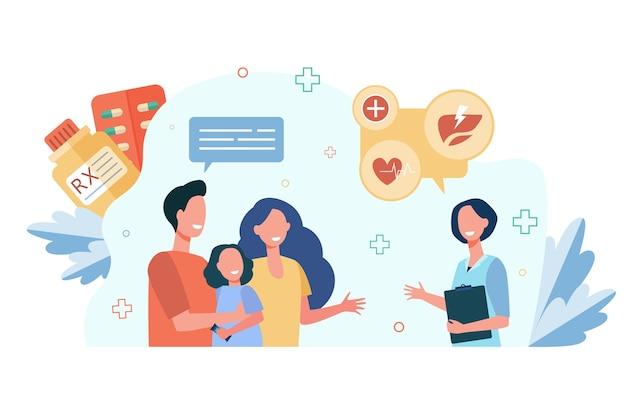 Pais e criança visitando o pediatra.