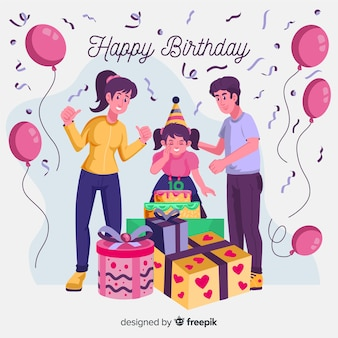 Pais e filha aniversário fundo