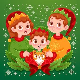 Pais e filho com cena de natal em família de gato