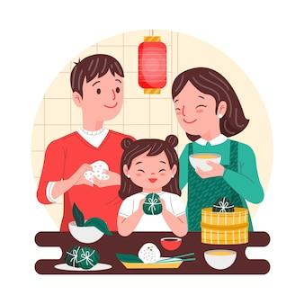 Pais e filho fazendo zongzi