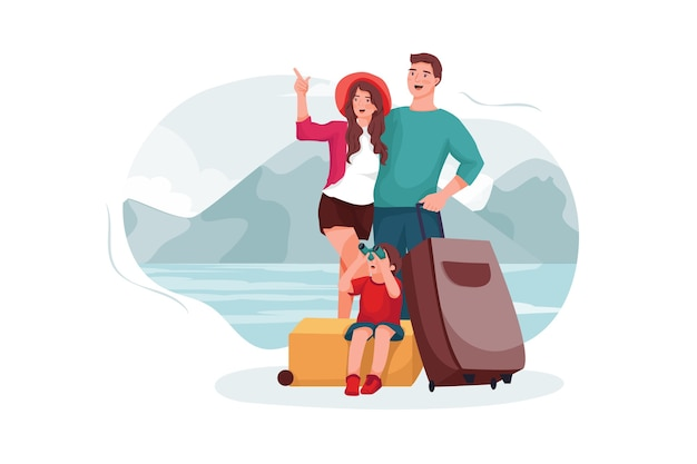 Pais e filho foram para o destino turístico.