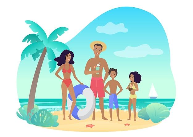 Pais e filhos alegres em trajes de banho em pé perto da palma na costa do mar e relaxando