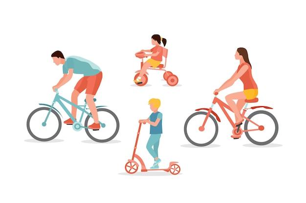 Pais e filhos andando de bicicleta, triciclo e patinete