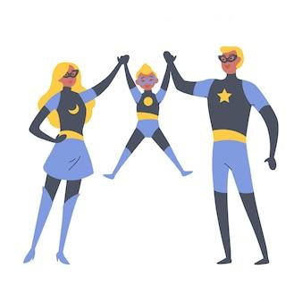 Pais e filhos brincando de super-heróis, vestidos com fantasias de super-heróis.