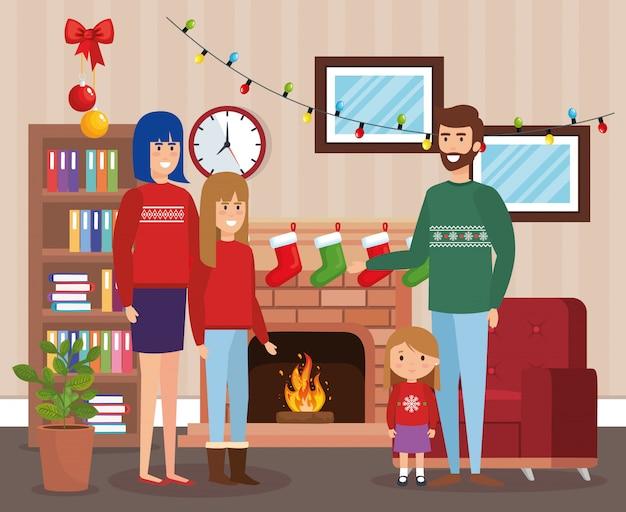 Pais e filhos com roupas de dezembro na sala de estar