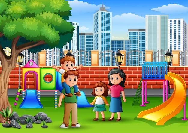 Pais e filhos em um parque público
