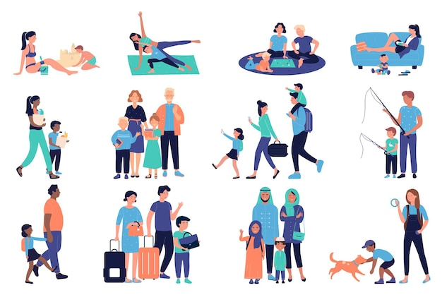 Pais e filhos felizes com cenas de família com mãe, pai, menina e menino Vetor Premium