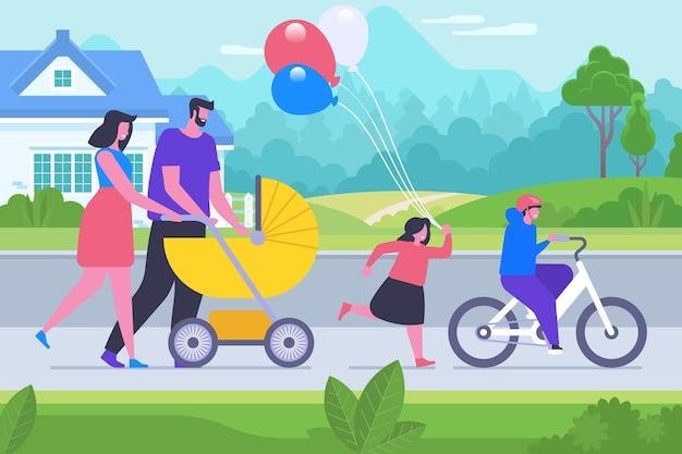 Pais e filhos ligando a ilustração vetorial plana. personagens de desenhos animados de mãe, pai, filho e filha. pessoas comemorando o dia da família. jovem casal com carrinho de bebê, menino andando de bicicleta, menina segurando balões