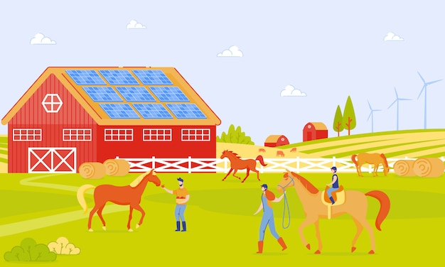 Pais e filhos na fazenda de cavalo cartoon flat.