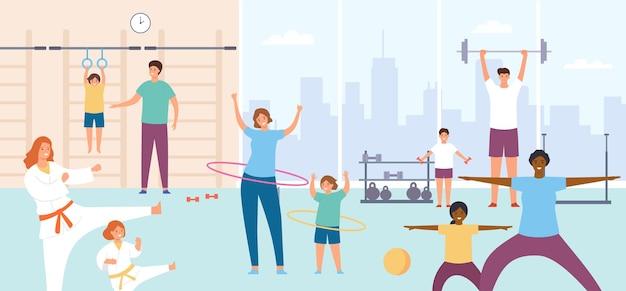 Pais e filhos no ginásio. famílias fazem exercícios. aula de esportes ou treinamento físico para crianças. conceito de vetor de caratê, fitness e ginástica. pessoas com barra, bambolê, estilo de vida ativo