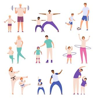 Pais e filhos praticando esportes. pai e filho jogam futebol, mãe e filha fazem exercícios físicos. conjunto de vetores de atividade física familiar. estilo de vida ativo e saudável, tempo de lazer