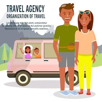 Pais e filhos viajando de carro na natureza