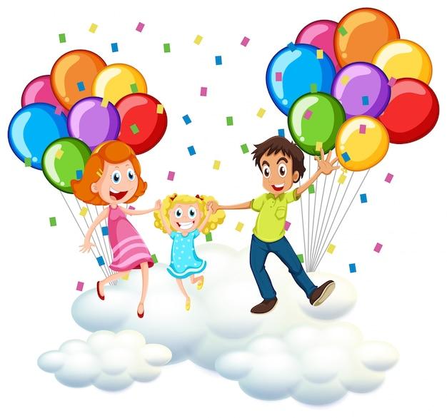 Pais e garotinha sobre nuvens com balões coloridos