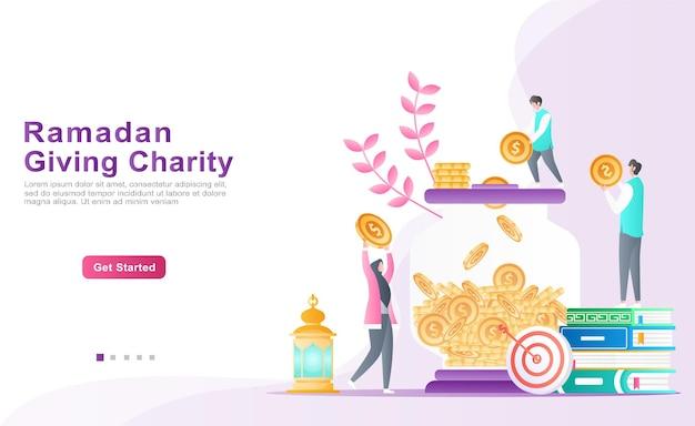 Pais educam, ajudam seus filhos a economizar, doar e colocar moedas em um conceito de ilustração de caixa de dinheiro