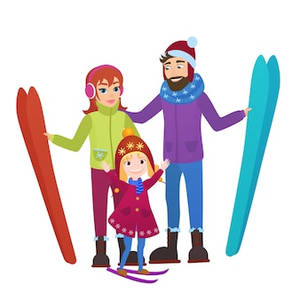 Pais esquiadores com filha em montanhas de neve. lazer de esqui de inverno de homem, mulher e menina de família.