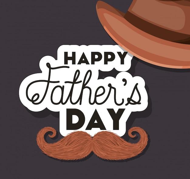 Pais feliz dia chapéu e bigode design