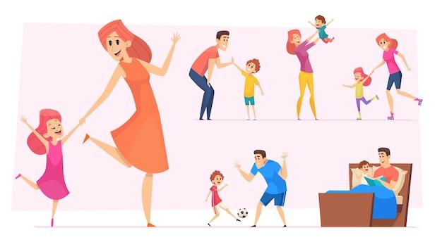 Pais felizes com crianças brincando, aprendendo e dançando